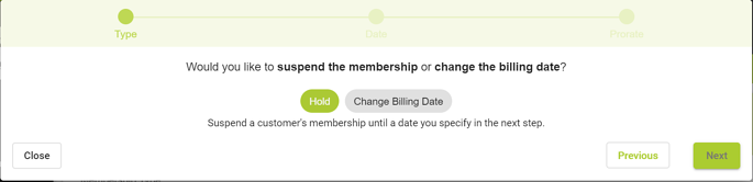 how do i cancel change billing date or put a membership